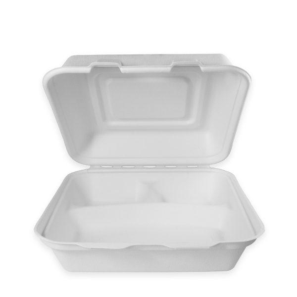 8.5 x 8 x 2.7 | Fiber Clamshell (Heavy) (3 Compartment) 200 per case 1