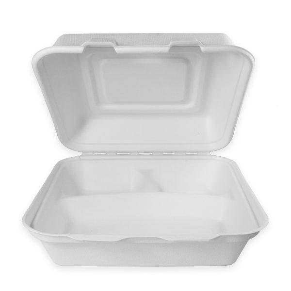 9 x 9 x 3 | Fiber Clamshell (Heavy) (3 Compartment) 200 per case 1