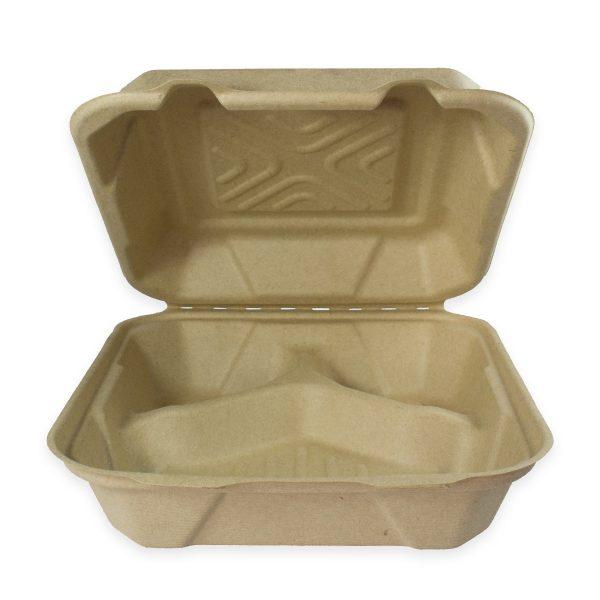 9 x 9 x 3 | Fiber Clamshell (Kraft) (3 Compartment) 200 per case 1