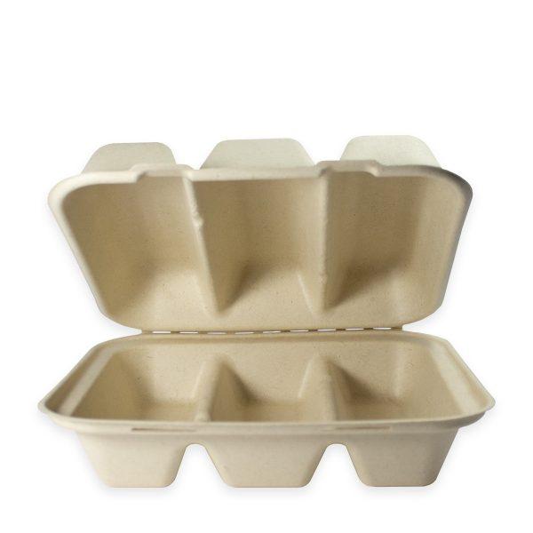 9.25 x 8 x 3 | Fiber Clamshell (Kraft) (3 Compartment) 300 per case 1
