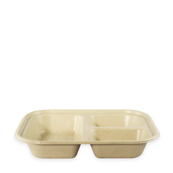 10 x 7.5 | Fiber Tray (Ingeo Lined) (3 Compartment) 400 per case 1